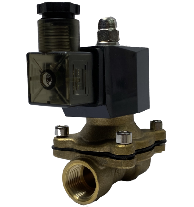 Клапан электромагнитный латунный двухходовой нормально закрытый КЭМ(нз) 15-1,0