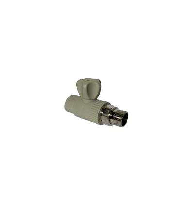 Кран радиаторный прямой полипропиленовый серый PN 2,5, 25х3/4