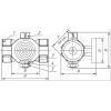 Кран трёхходовой для манометра с контр. фл. 11б18бк(ф)2 Ру16 Ду15 G1/2xGx1/2 c рукояткой