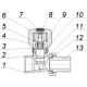 Кран регулирующий для радиатора латунный с покрытием угловой КРРу